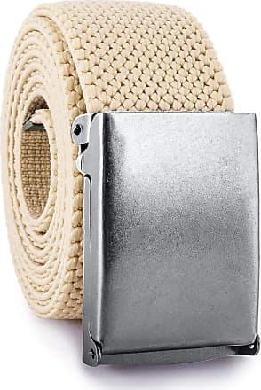 Decalen Mens Nylon Belt with Metal Automatic Buckle Canvas Breathable Men Waist Belt (Light Beige)