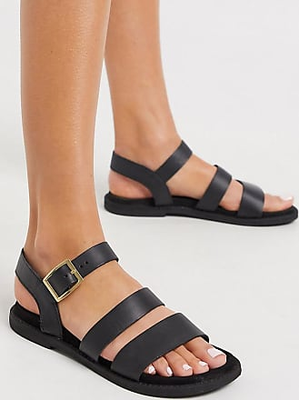 Warehouse multistrap footbed leather sandals in black