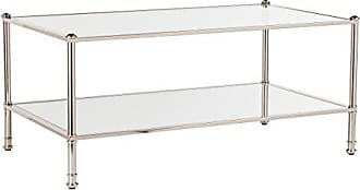 Southern Enterprises Paschall Cocktail Table - Metallic Silver w/Mirrored Shelves - Glam Styling