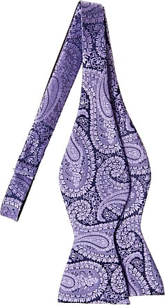 Retreez Paisley Art Pattern Woven Microfiber Self Tie Bow Tie - Purple on Navy Blue
