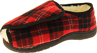 Footwear Studio Mens Womens Red Tartan Adjustable Touch Fastening Orthopaedic Slippers UK 5-6