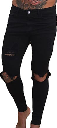 Hellomiko Men Denim Jeans Super Stretch Skinny Jeans Hot New Ripped Distressed Denim Pants Handsome Cool