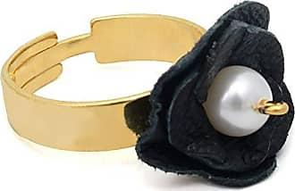 Tinna Jewelry Anel Dourado Flor Couro (Preto)