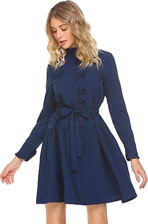 Zeagoo Women Long Sleeve Button Front Casual Loose Shirt Dress with Belt Navy Blue