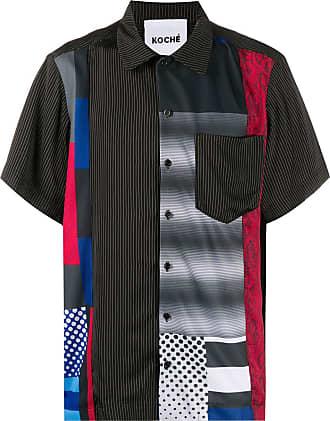 Koché Camisa mangas curtas com estampa geométrica - Preto