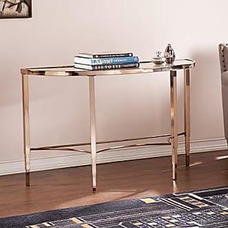 Southern Enterprises Thompson Sofa Console Table - Metallic Gold Metal Frame - Art Deco Design