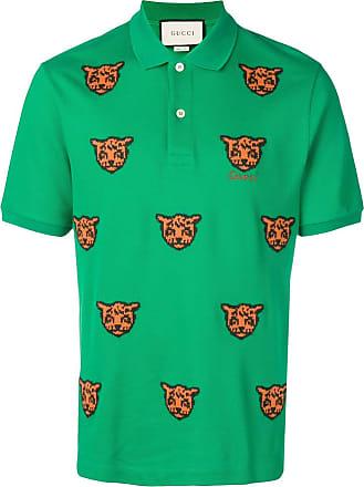 8476df7e30 Gucci embroidered tiger polo shirt - Green