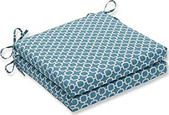Pillow Perfect Outdoor/Indoor Hockley Teal Squared Corners Seat Cushion 20x20x3 (Set of 2)