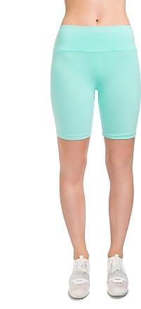 FUTURO FASHION Womens Cotton Rich 1/2 Leggings High Waisted Solid Cycling Pants Sports Gym LKW Mint