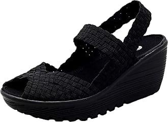Insun Womens Woven Slip On Wedge Shoes Black 2 UK 7.5