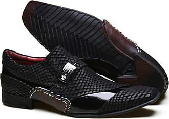 Calvest Sapato Social Masculino Calvest em Couro Preto Texturizado com Fivela exclusiva e Costura Manual - 3260C544-40