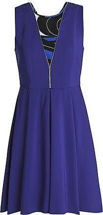 Emilio Pucci Emilio Pucci Woman Zip-detailed Printed Georgette-paneled Crepe Mini Dress Royal Blue Size 38