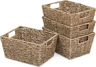 Best Choice Products Set of 4 Seagrass Storage Laundry Organizer Tote Baskets w/ Insert Handles