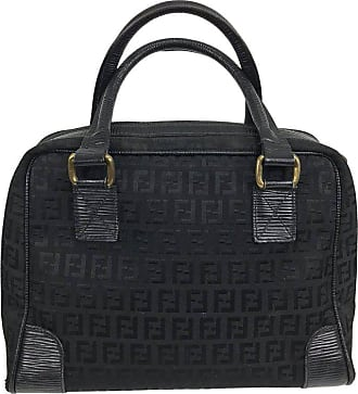 19801755ca0b Fendi Black Logo Canvas And Leather Handbag 1970s