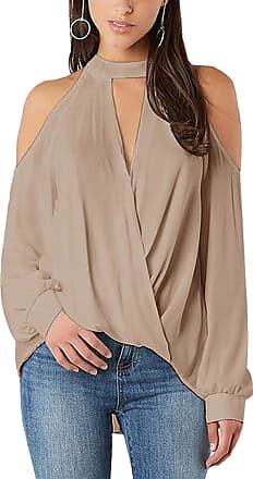 Yoins Women s Cold Shoulder Top Crossed Front Design V-Neck Lantern Sleeves Shirt Blouse, XXL, Khaki-new