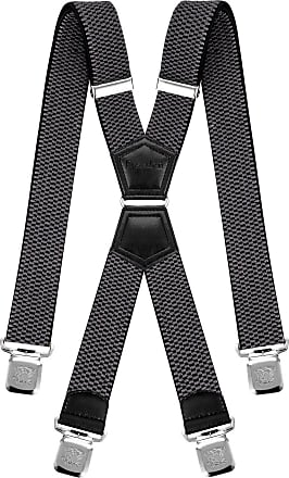 Decalen Mens Braces X Style Very Strong Clips Adjustable One Size Fits All Heavy Duty (Grey), One Size - Long
