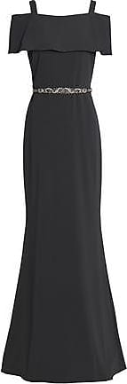 Badgley Mischka Badgley Mischka Woman Cold-shoulder Embellished Cady Gown Charcoal Size 2