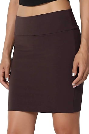 The Celebrity Fashion New Womens Jersey High Waist Bodycon Mini Skirt Elasticated Short Skirts UK 8-14 Brown