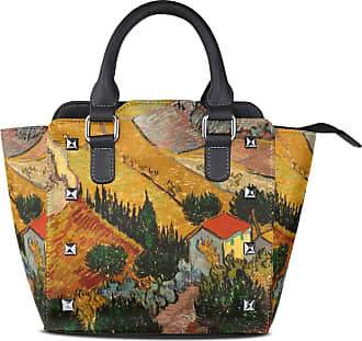 NaiiaN Animal Tote Bag Leather Landscap Rural House for Women Girls Ladies Student Light Weight Strap Shoulder Bags Purse Shopping Handbags