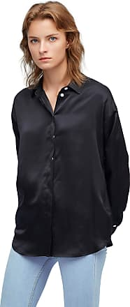 LilySilk 100% Mulberry Silk Blouse for Women Long Sleeve Chic Relaxed Silk Shirt XL, Black