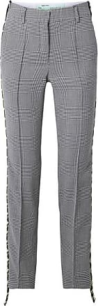 Off-white Houndstooth Canvas-trimmed Wool Straight-leg Pants - Black