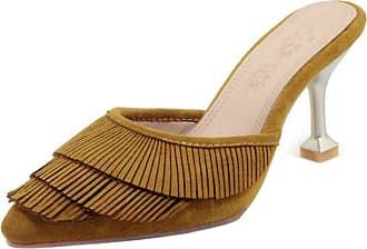 RAZAMAZA Women Closed Toe Mules Shoes Mid Heels Yellow Size 35 Asian