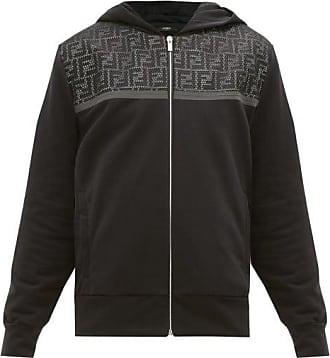 Fendi Ff Mesh-panel Cotton-blend Hooded Sweatshirt - Mens - Black