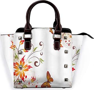Browncin Floral Spring Swirled Flowers Leaves And Butterfly Nature Foliage Garden Motif Detachable Fashion Trend Ladies Handbag Shoulder Bag Messenger Bags