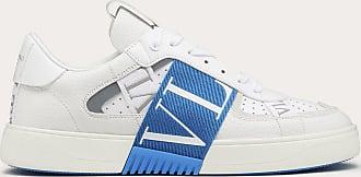 Valentino Garavani Valentino Garavani Uomo Calfskin Vl7n Sneaker With Bands Man White/blue Polyurethane 55%, Cotton 45% 39.5