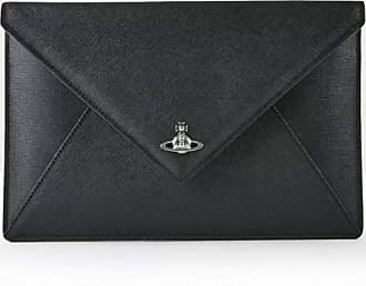 Vivienne Westwood Victoria Black Leather Envelope Clutch Bag Bke One-Size