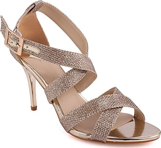 Unze Unze Women Bombshell Glittery Strappy Mid Low High Heel Party Prom Get Together Carnival Evening Wedding Sandals Heels Shoes 8 UK Gold Size 8 UK