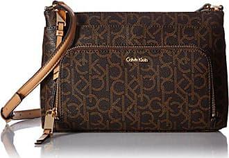 Calvin Klein Hudson Top Zip Signature Crossbody, BRN/Khk/Camel