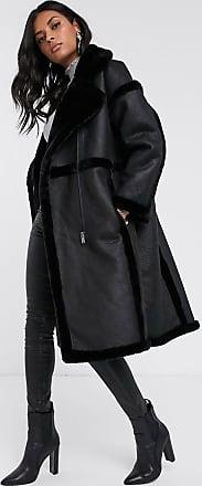 Vila longline faux fur shearling coat in black