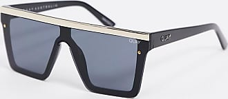 Quay Hindsight visor sunglasses in black with gold trim