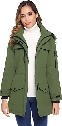 Abollria Womens Parkas Coats with Hood Warm Winter Lined Padded Long Coats Jacket Outwear Green