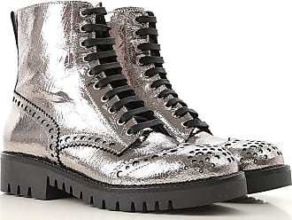 Alexander McQueen Boots for Women, Booties On Sale in Outlet, Silver, Laminated Leather, 2017, 9