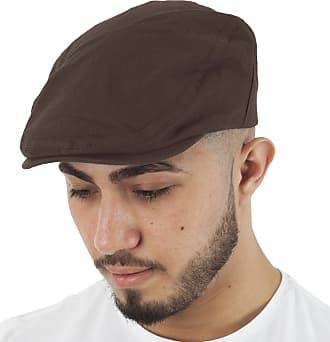 TOSKATOK Mens Brushed Cotton Flat Cap-Brown