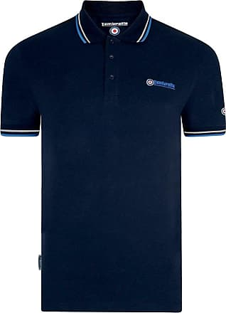 Lambretta Mens Twin Tipped Target Logo Short Sleeve Polo Shirt Size Navy/Royal/White S
