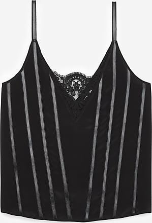 The Kooples Black camisole with lace and leather details - WOMEN