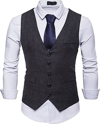 Whatlees Mens Tweed Checked Vest - Slim with Double-Breasted Button Placket BA0082-black-XXL