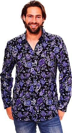 V.H.O. Funky Hawaiian Shirt, LS-Skull, Blue, XL