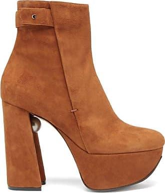 Nicholas Kirkwood Miri Faux Pearl-embellished Suede Platform Boots - Womens - Tan
