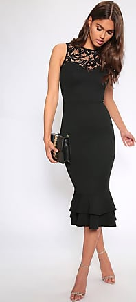 f023b1bb I Saw It First Black Lace Detail Midi Dress With Peplum Hem - 10 / BLACK