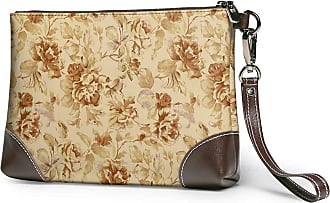 GLGFashion Womens Leather Wristlet Clutch Wallet Simple Vintage Flower Storage Purse With Strap Zipper Pouch