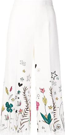 Elisabetta Franchi floral print cropped trousers - Branco
