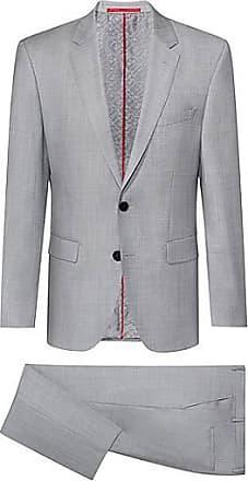 HUGO BOSS Regular-Fit Anzug aus Schurwolle mit filigraner Twill-Struktur