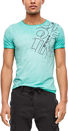 Q/S designed by Mens T-Shirt with Wash Effect - Turquoise - X-Large