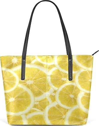 NaiiaN Handbags Tote Bag Purse Shopping Shoulder Bags for Women Girls Ladies Student Light Weight Strap Leather Fresh Fruit Yellow Lemon Pattern Cup