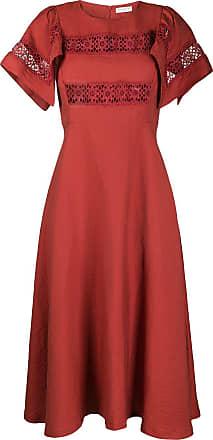 Sandro Vestido mangas curtas com recorte bordado - Vermelho