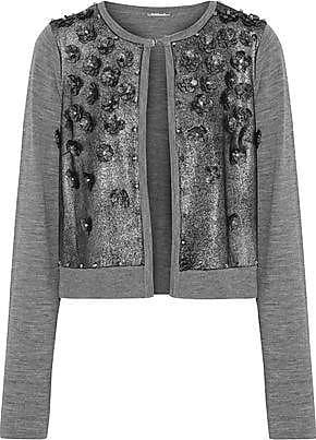 Elie Tahari Elie Tahari Woman Alena Embellished Metallic Suede-paneled Merino Wool Cardigan Gray Size XS